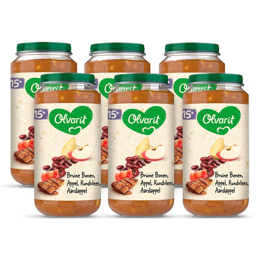 Olvarit Bruine Bonen Appel Rundvlees Aardappel - babyhapje voor baby's vanaf 15+ maanden - 6x250 gram babyvoeding in een maaltijdpotje