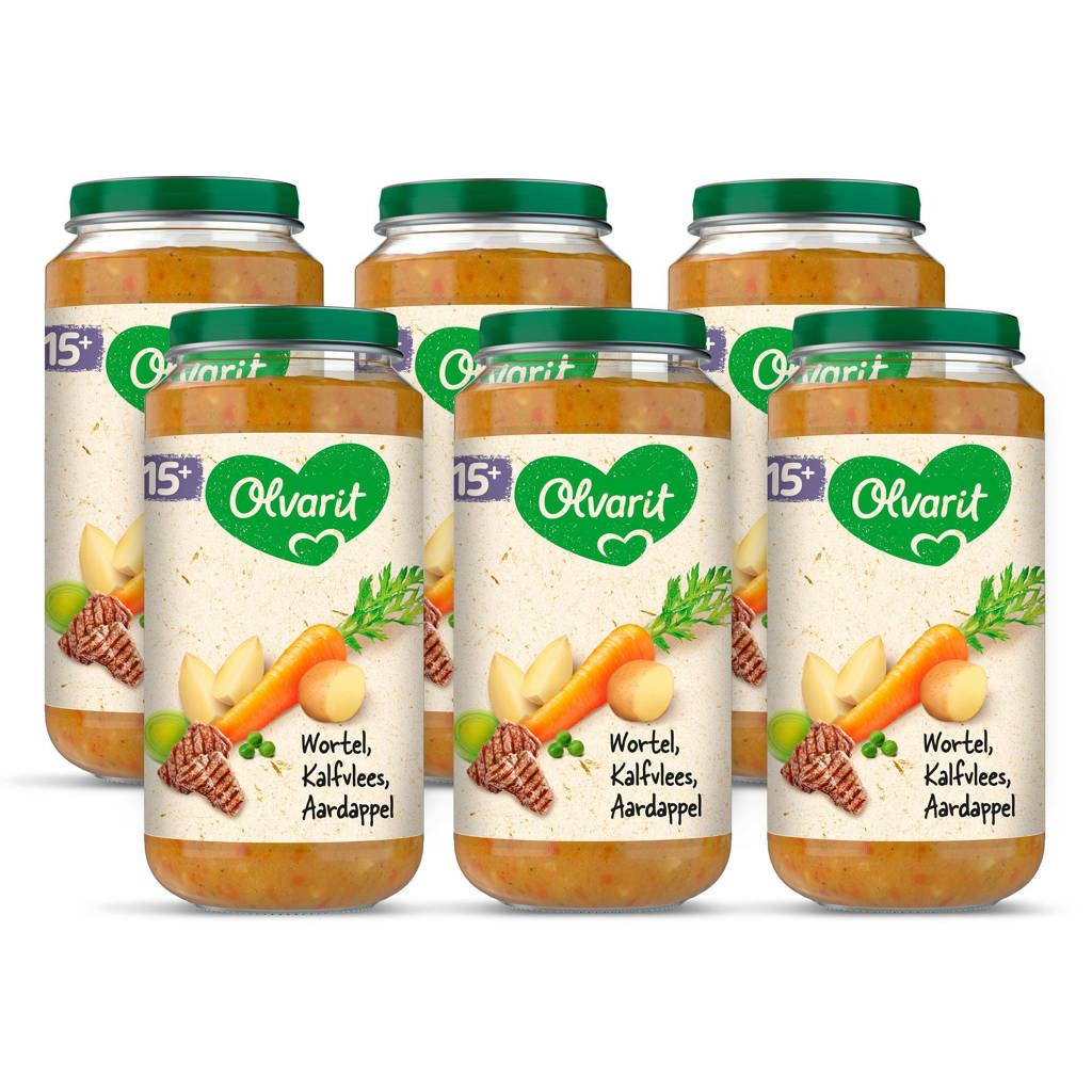 Olvarit Wortel Kalfsvlees Aardappel - babyhapje voor baby's vanaf 15+ maanden - 6x250 gram babyvoeding in een maaltijdpotje