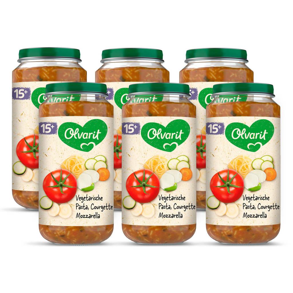 Olvarit Vegetarische Pasta Courgette Mozzarella - babyhapje voor baby's vanaf 15+ maanden - 6x250 gram babyvoeding in een maaltijdpotje