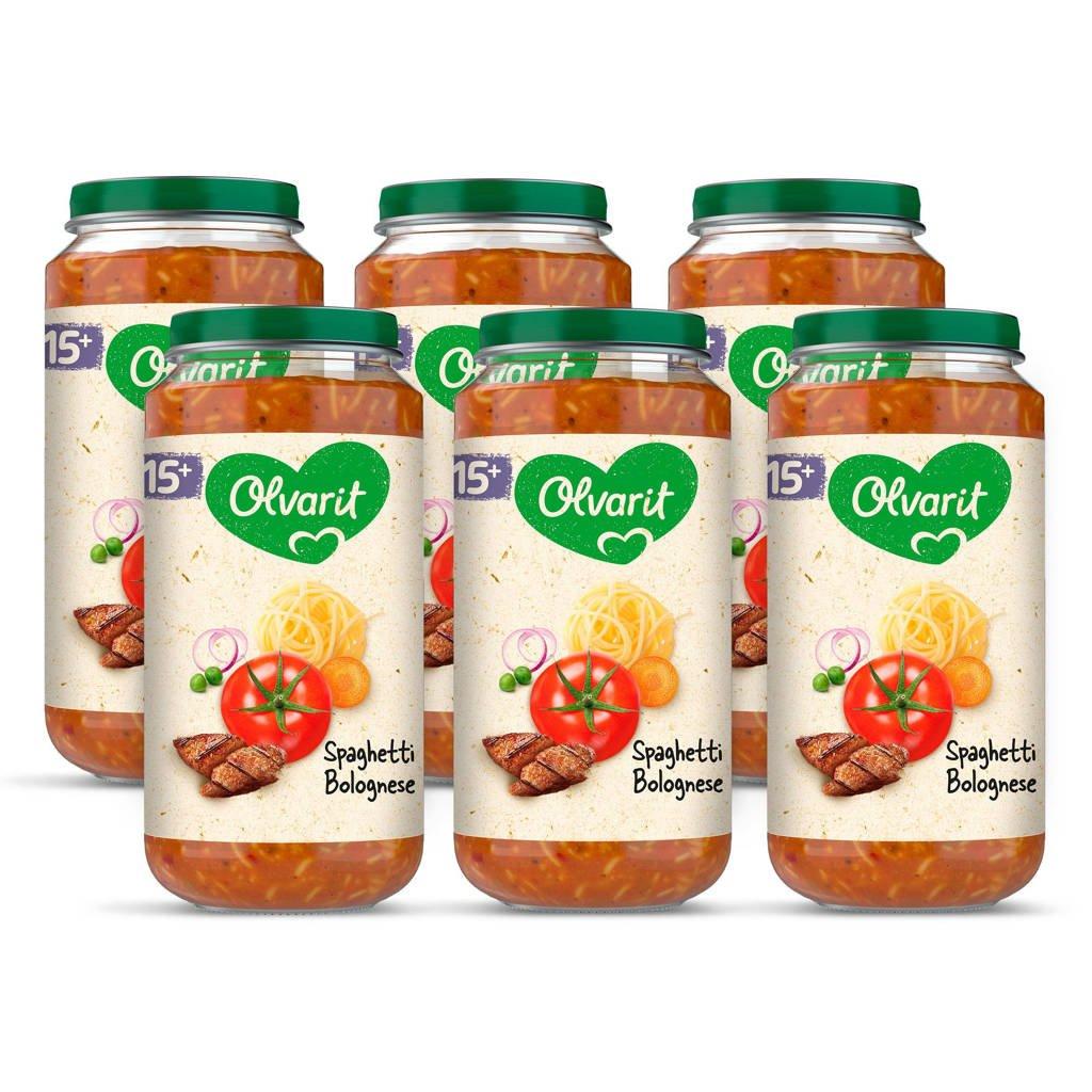 Olvarit Spaghetti Bolognese - babyhapje voor baby's vanaf 15+ maanden - 6x250 gram babyvoeding in een maaltijdpotje