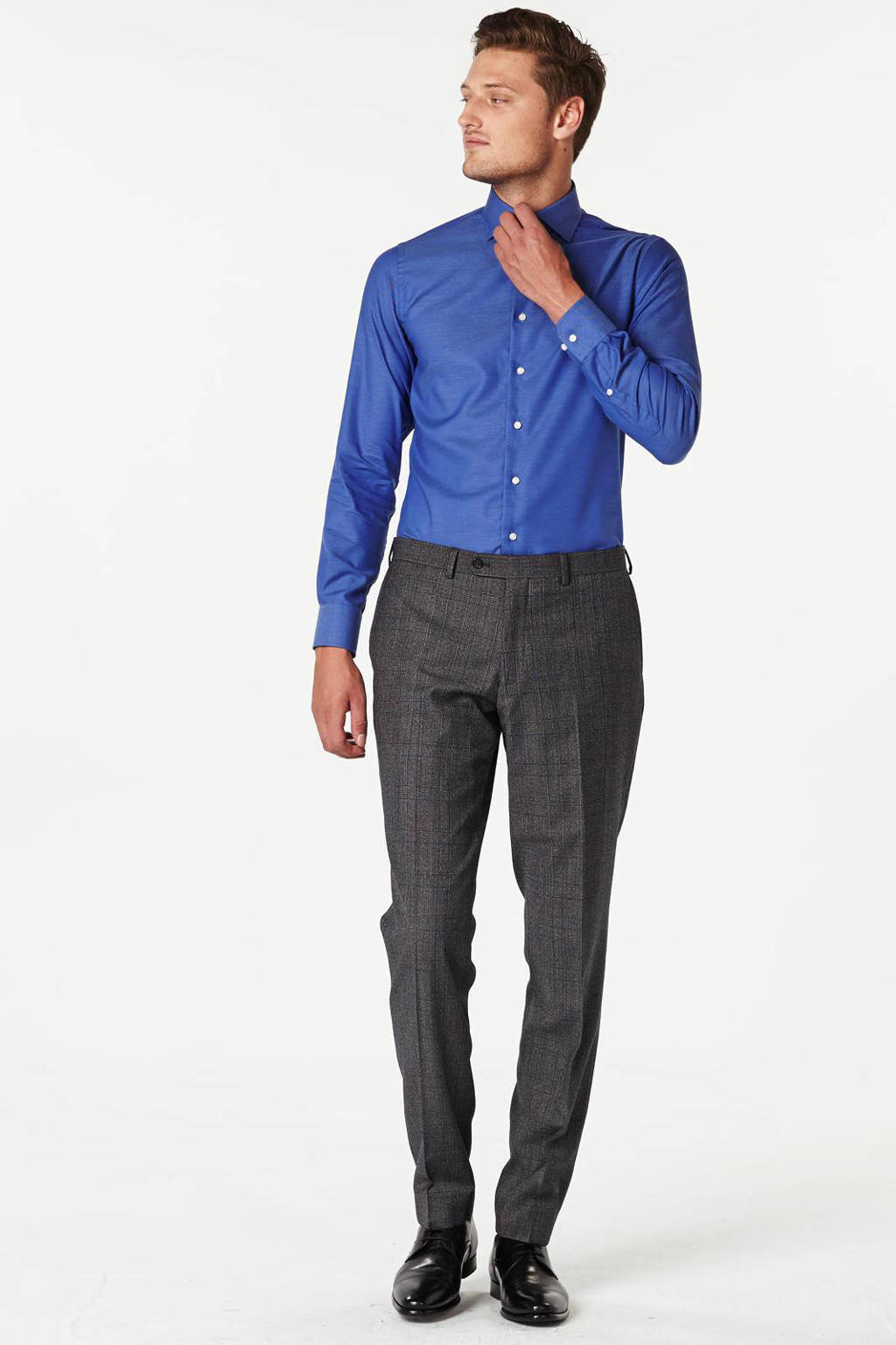 Michaelis slim fit overhemd, Blauw