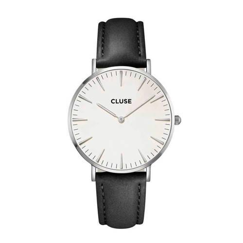 Cluse La Bohème Silver Horloge Wit-Zwart