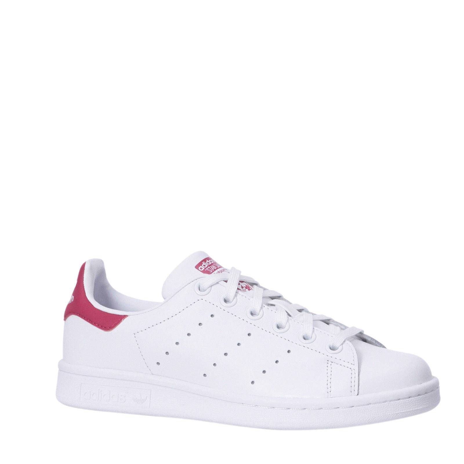 adidas originals Stan Smith J leren sneakers witfuchsia