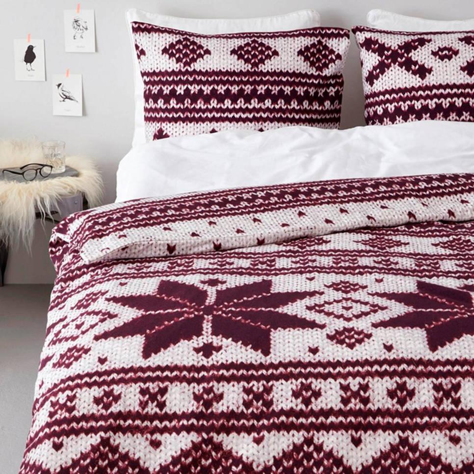 Beddinghouse flanellen dekbedovertrek lits. jum., Lits-jumeaux (240 cm breed), Rood/wit