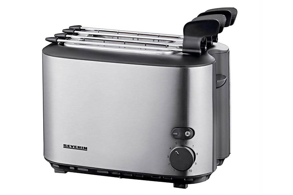 Severin AT2516 toaster, RVS/zwart