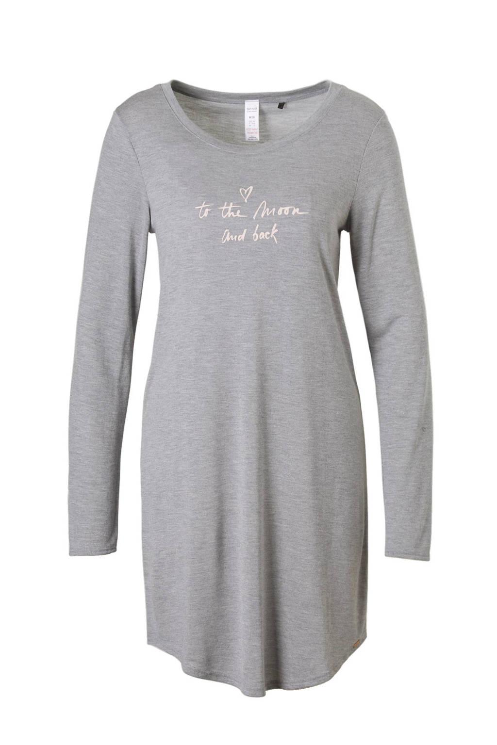 SKINY nachthemd, Grjs melange/roze