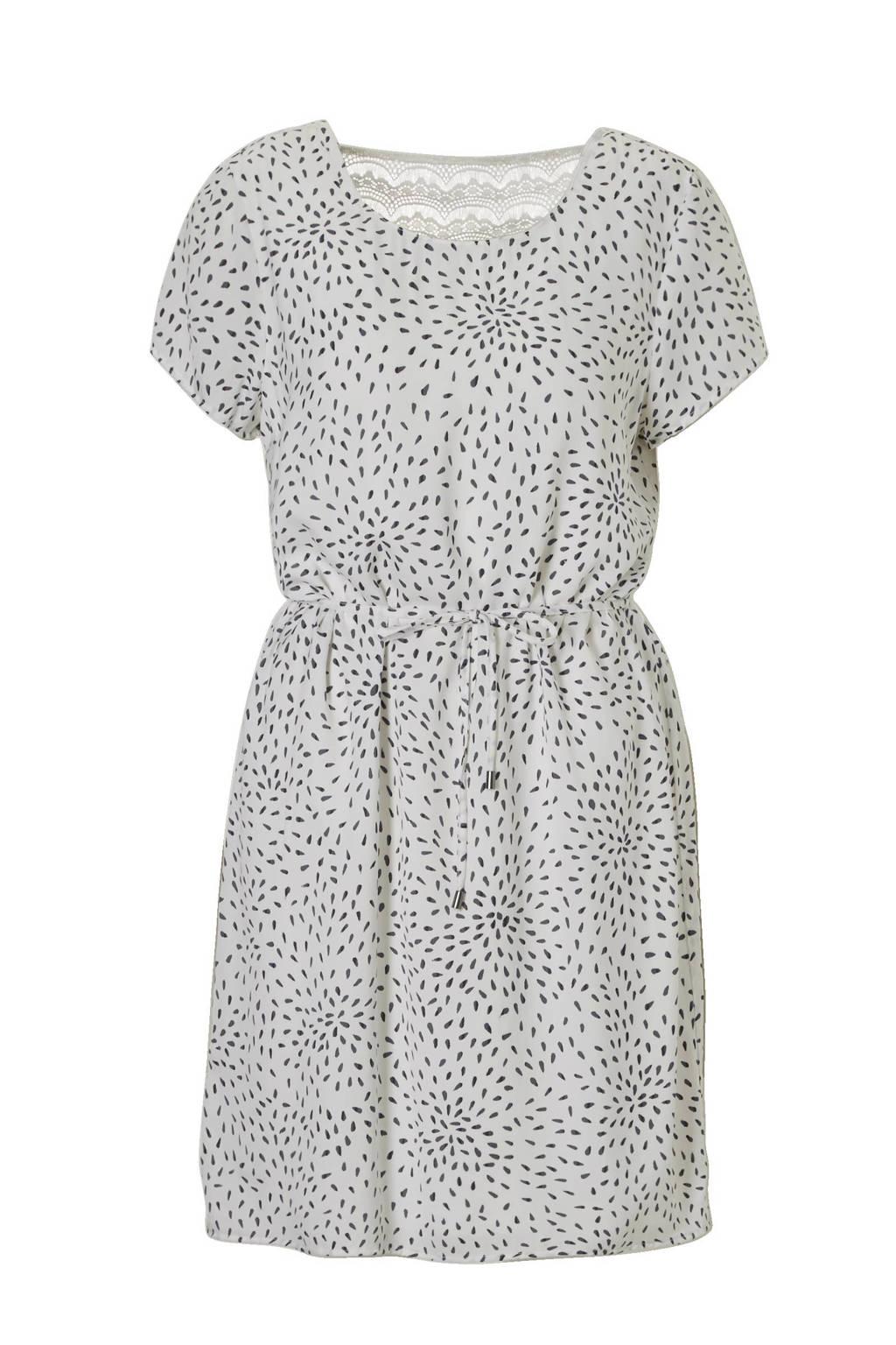 VILA jurk met kant en all over print, Ecru/grijs