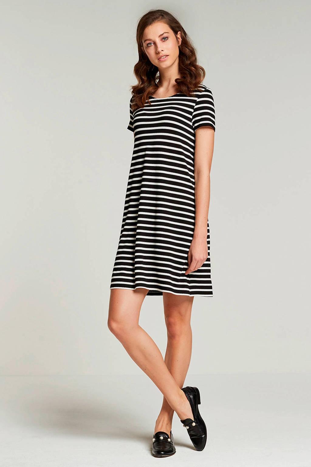 ONLY gestreepte jurk, Zwart/wit