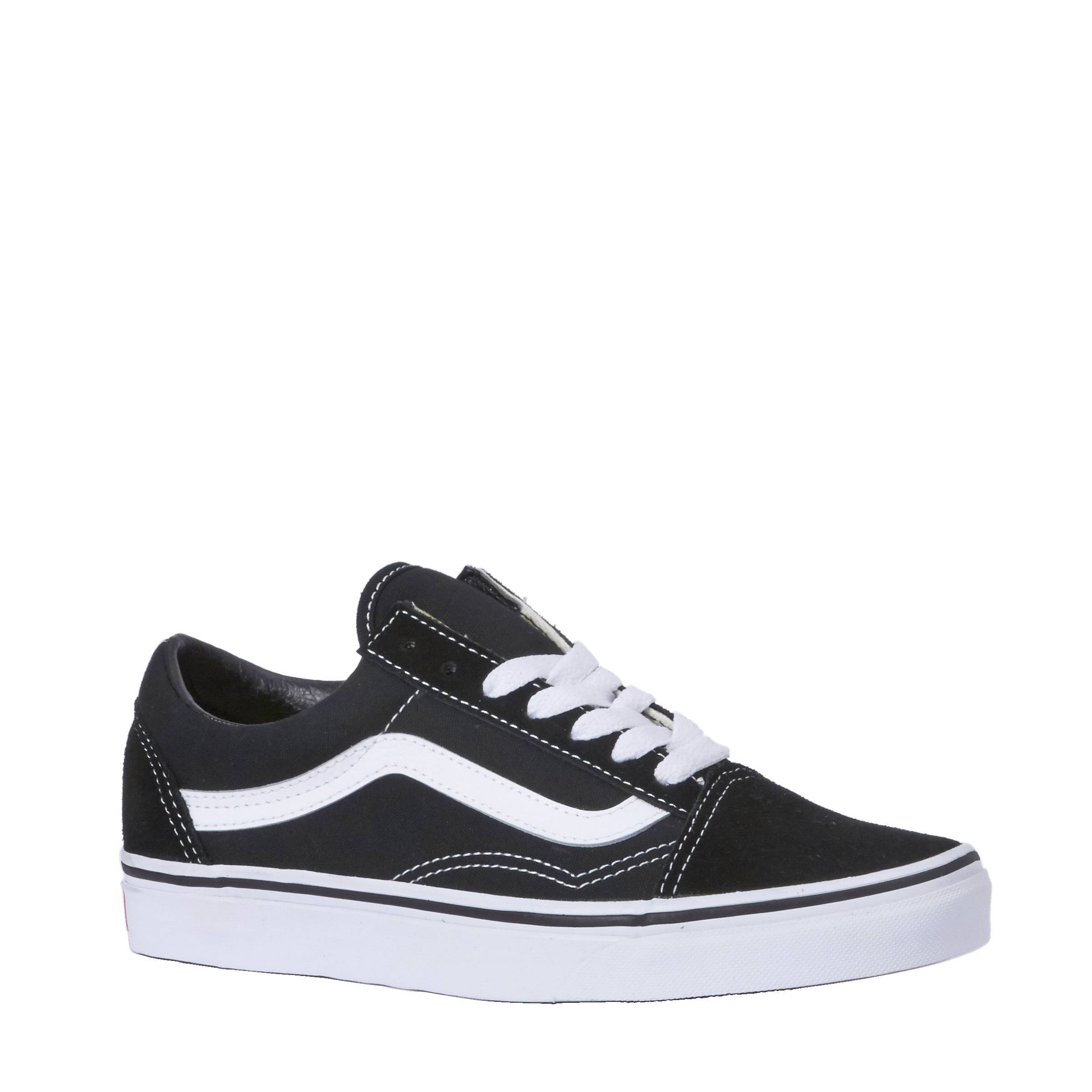 vans old skool wit leer