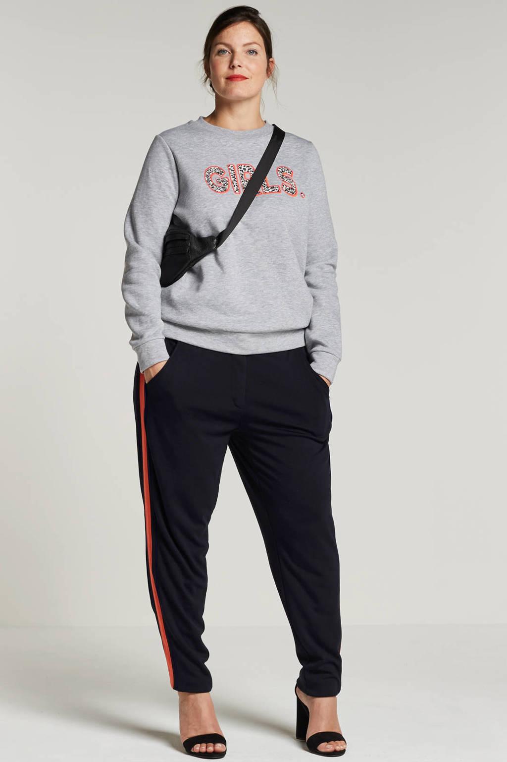 satrday. sweater met tekstopdruk, Grijs/roze