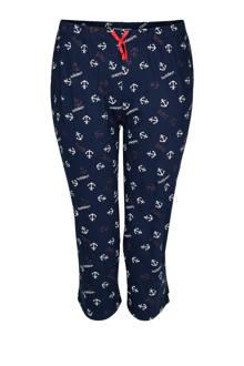 pyjamabroek met allover print donkerblauw