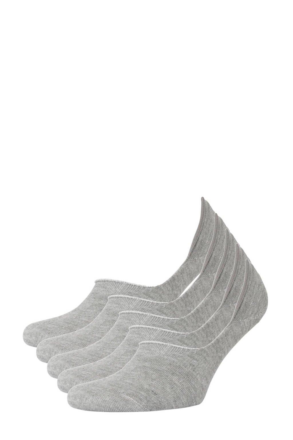 whkmp's own no-show sneakersokken - set van 5 grijs, Grijs melange