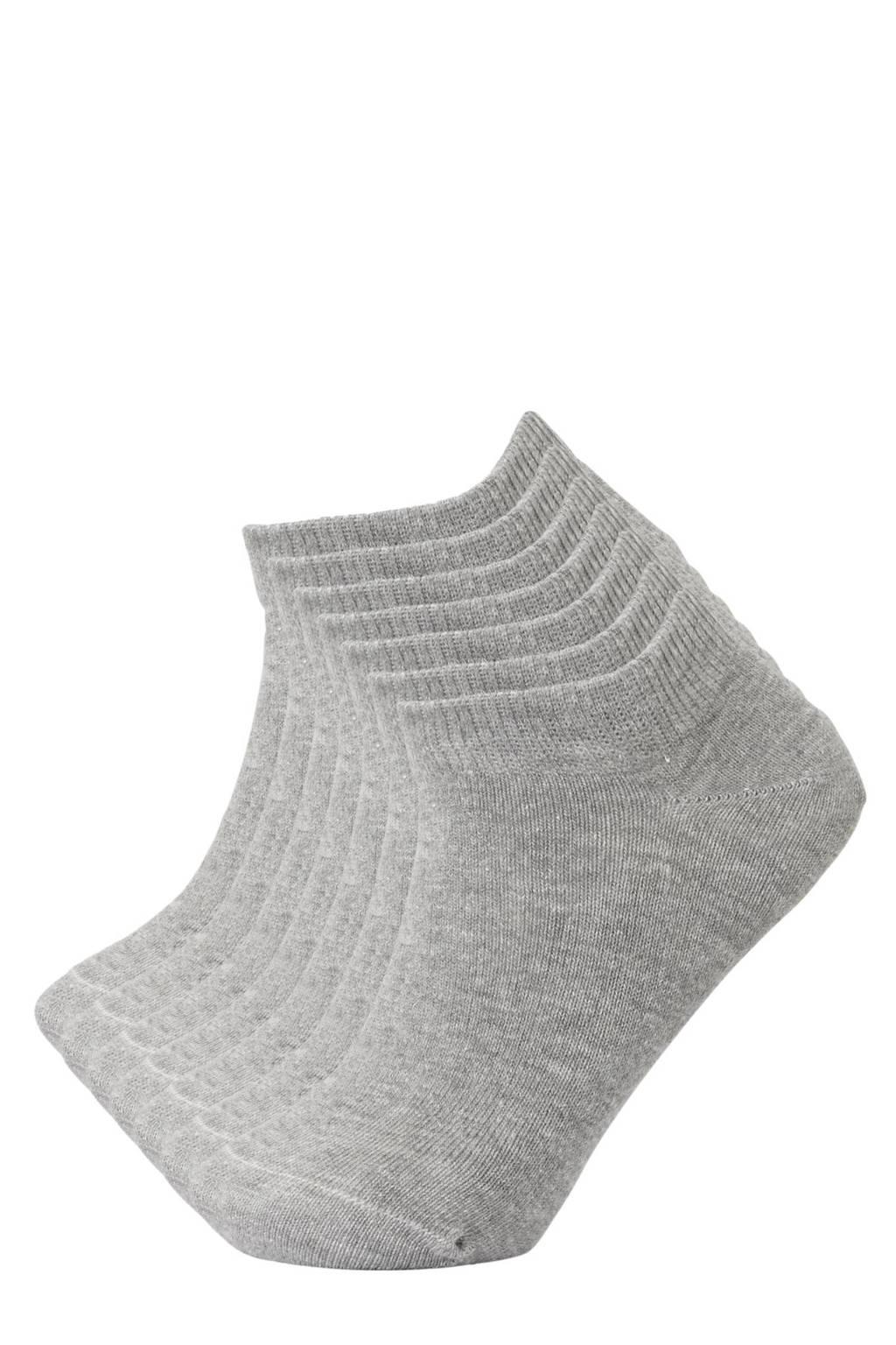whkmp's own sneakersokken - set van 7 grijs melange, Grijs melange