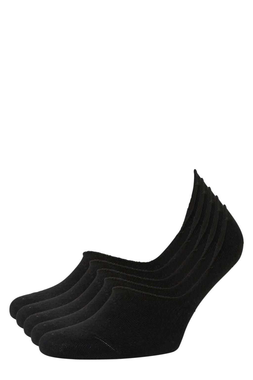 whkmp's own no-show sneakersokken - set van 5 zwart, Zwart