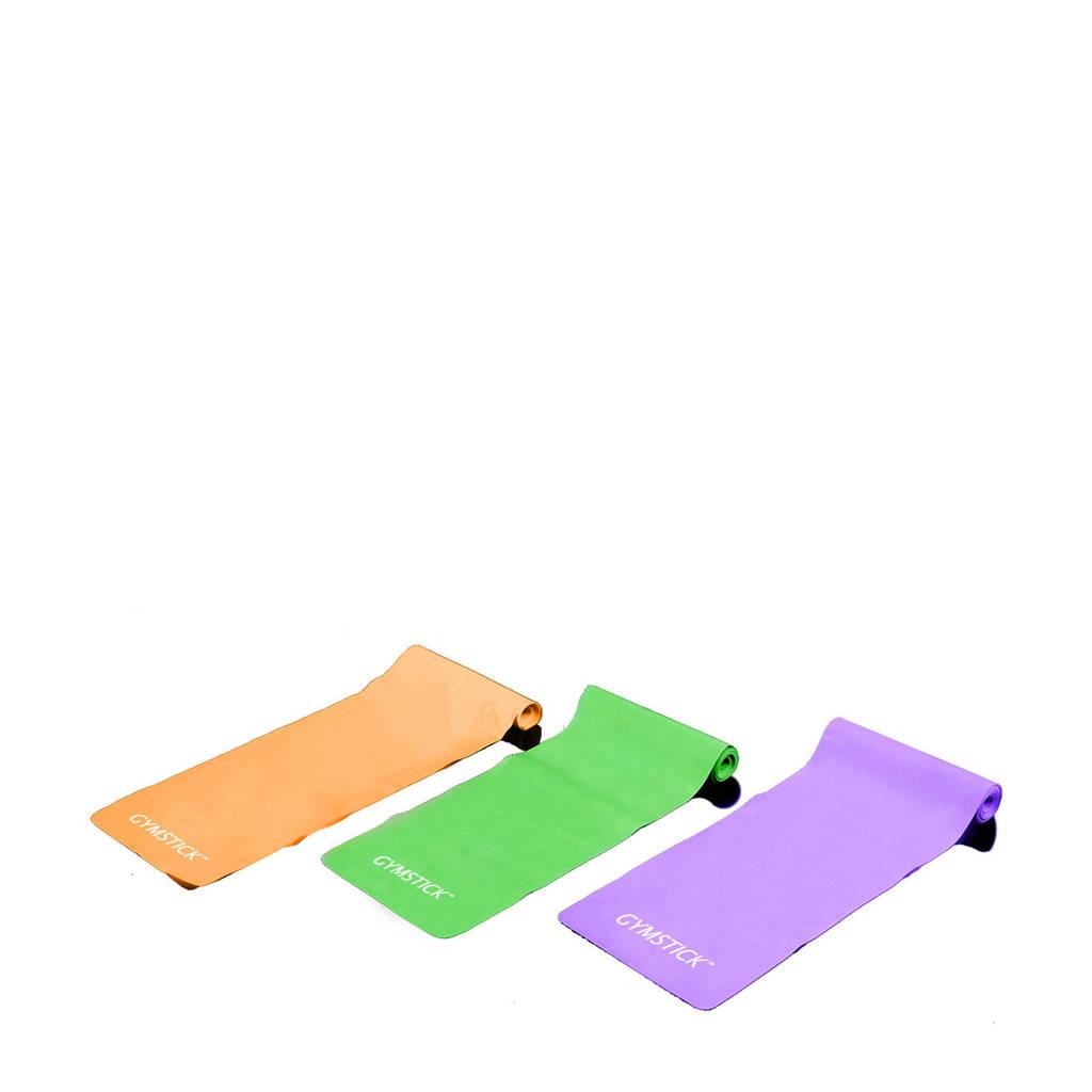 Gymstick fitness banden (set van 3)  + instructievideo's, Geel/paars/blauw