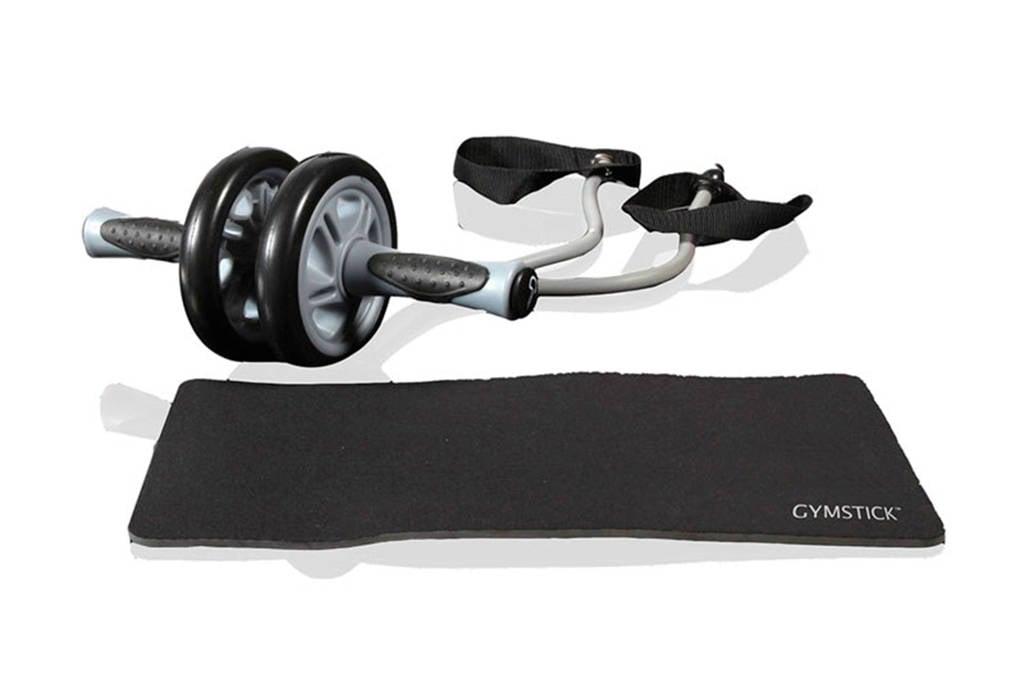 Gymstick trimwiel, mat en weerstandskabels met instructievideo's, Grijs/zwart