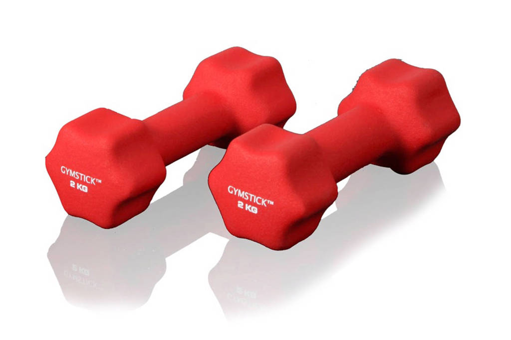 Gymstick  dumbbell set (2 kg) + instructievideo's, Rood