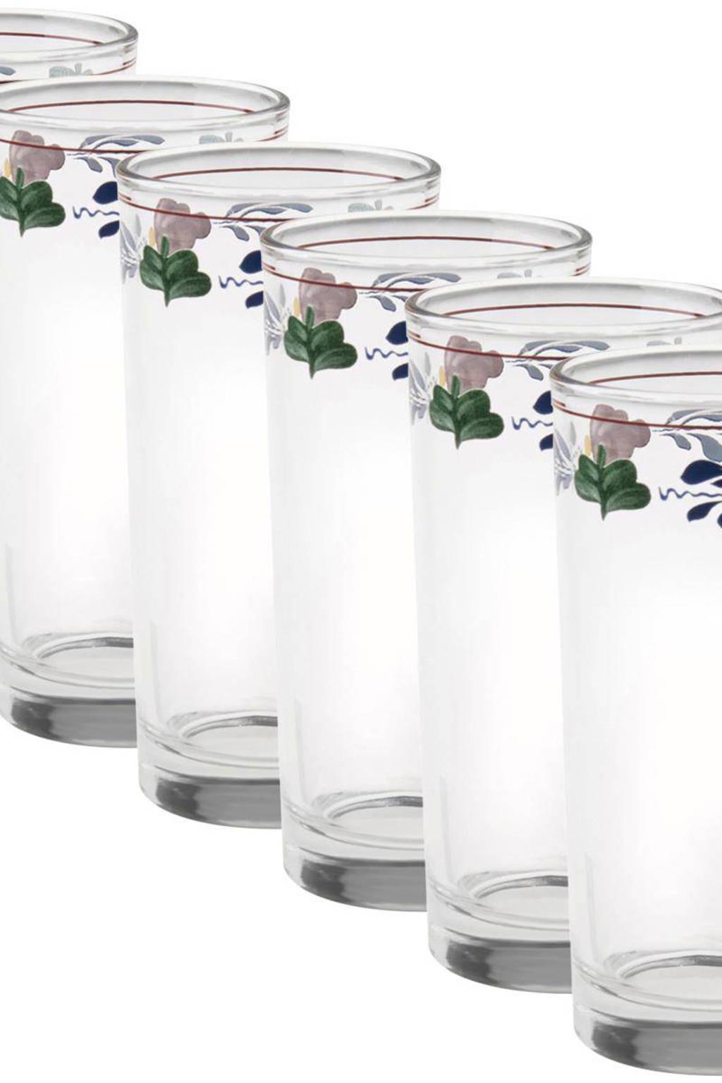 Boerenbont longdrinkglas (Ø6,5 cm) (set van 6), Transparant