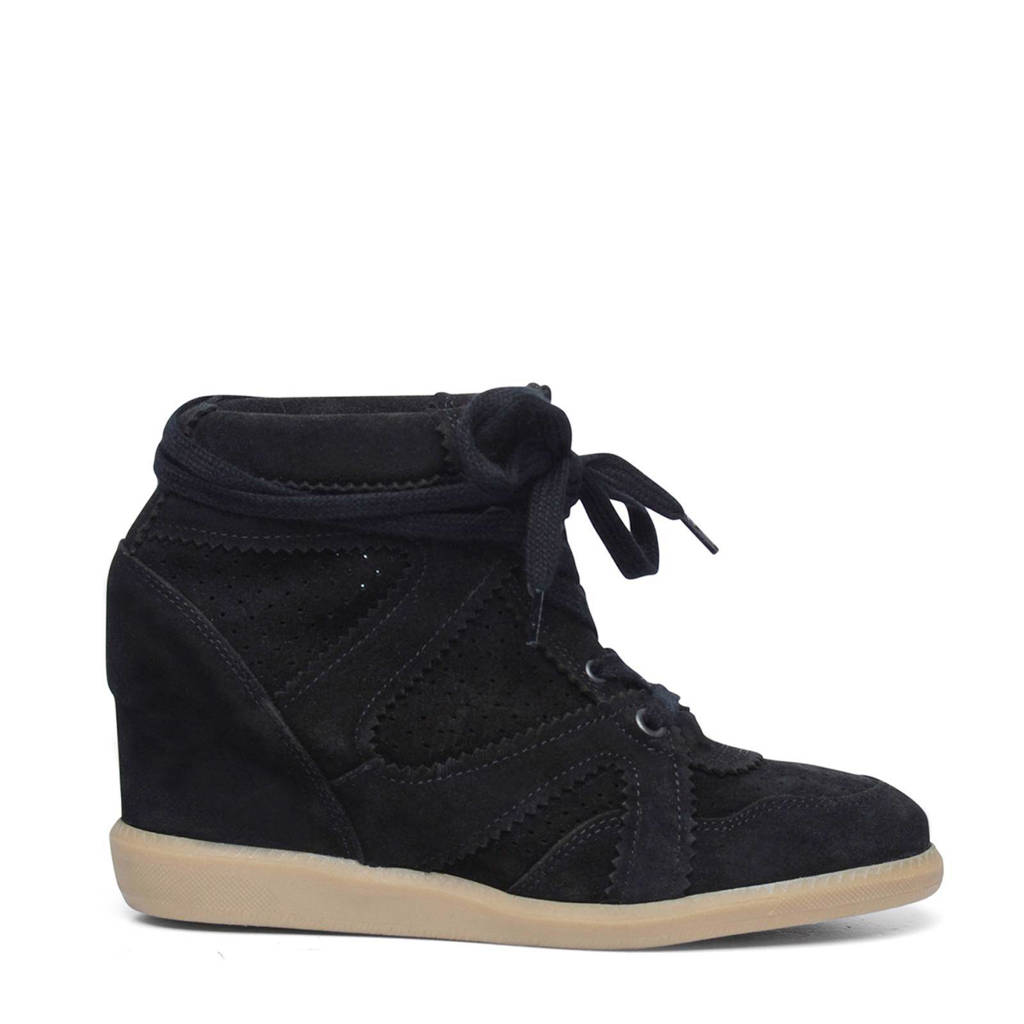 Manfield   suède wedge sneakers, Zwart