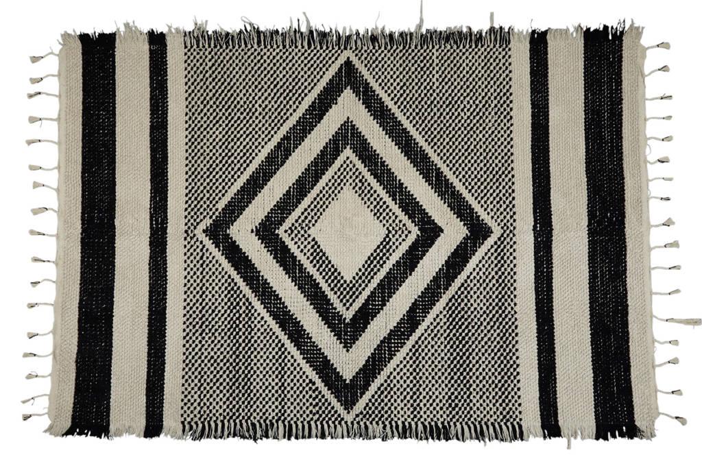 whkmp's own vloerkleed  (230x160 cm), Zwart/ecru
