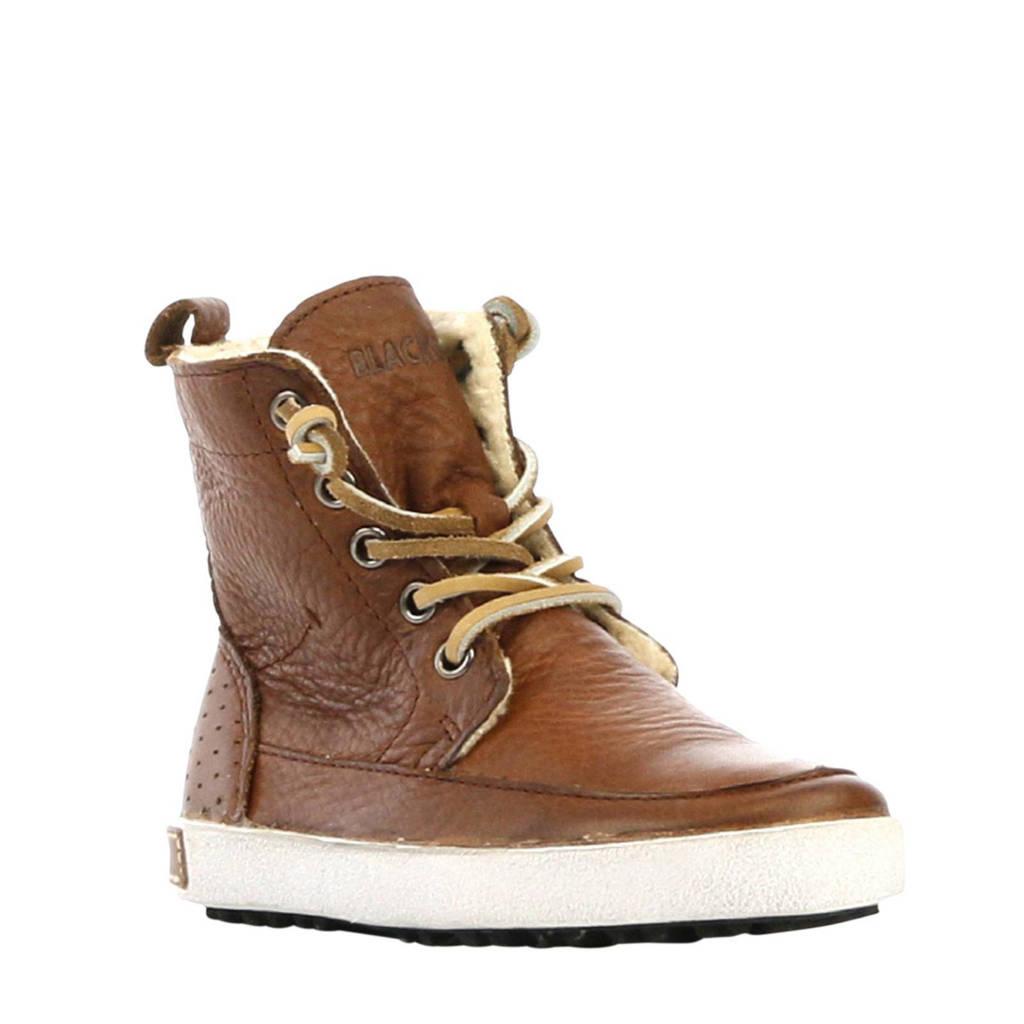 Blackstone   hoge leren sneakers bruin, Bruin