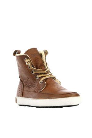 hoge leren sneakers bruin