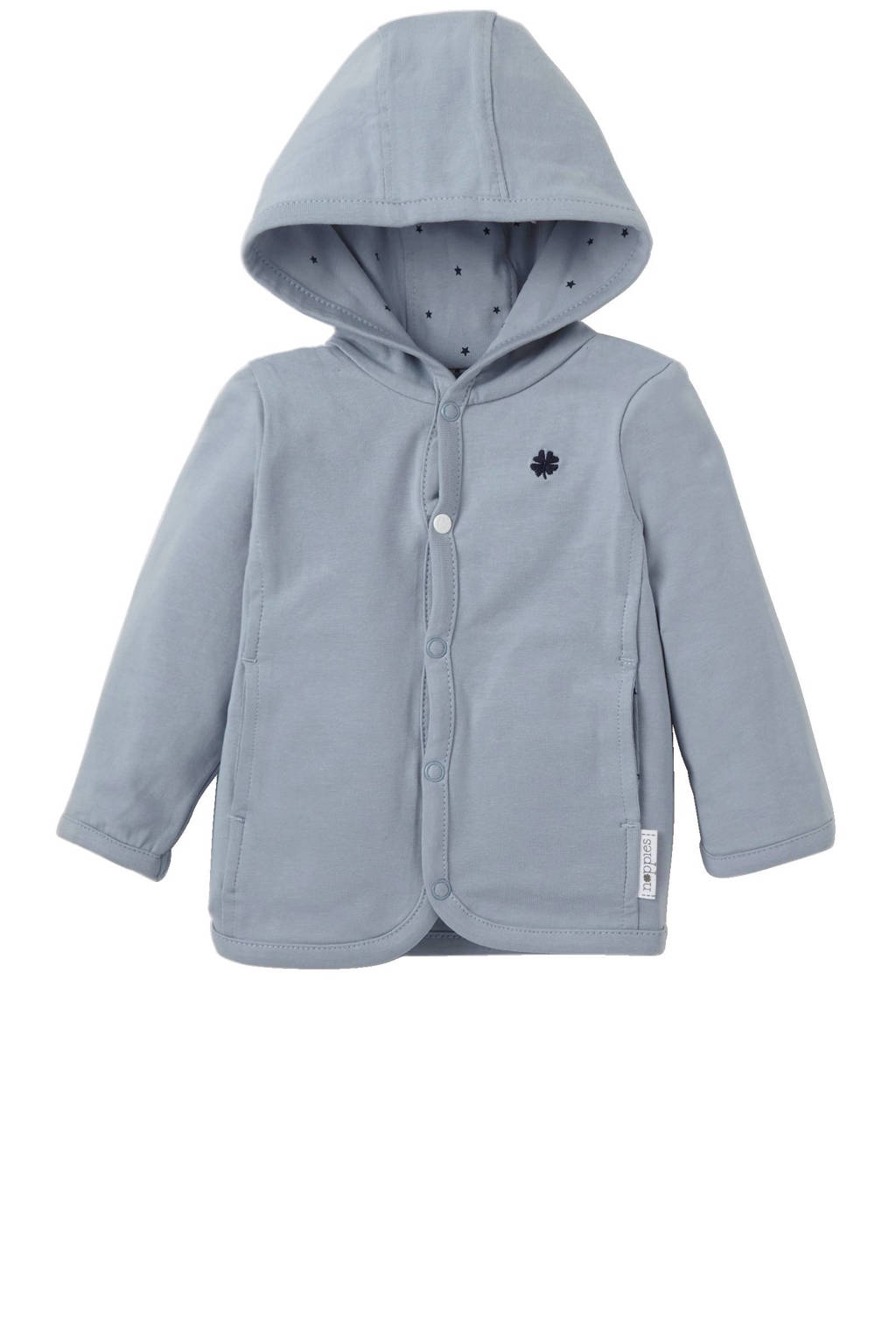 Noppies newborn baby vest met capuchon Nancy Grey blue, Blauw