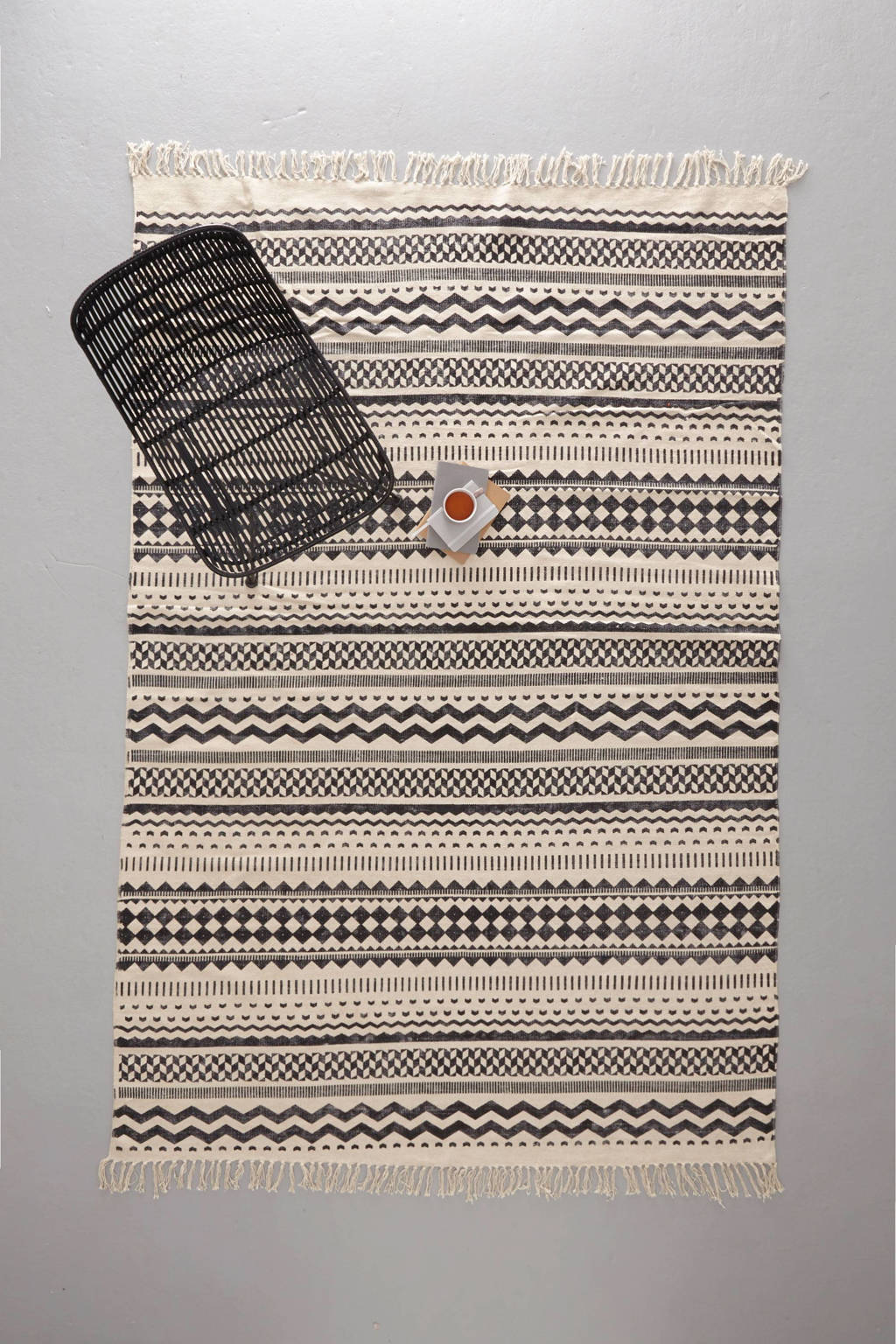 whkmp's own vloerkleed  (230x160 cm), zwart/off white