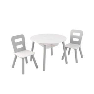 houten ronde opbergtafel en 2 stoelen