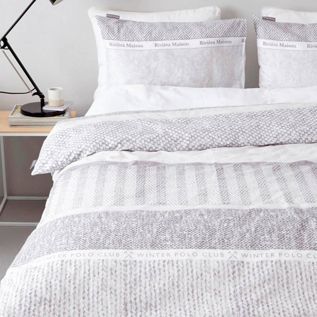 Riviera Maison katoenen dekbedovertrek 2 pers., Beige/wit, 2 persoons (200 cm breed)