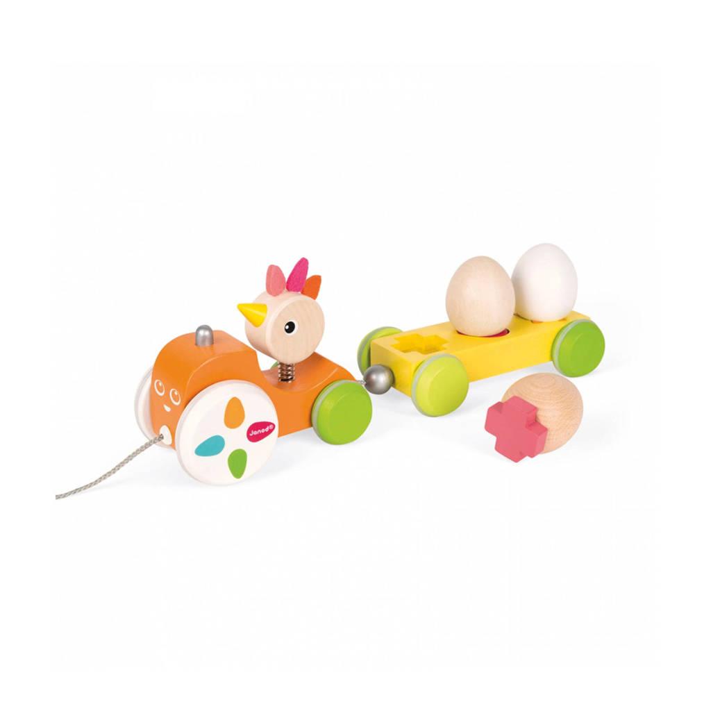 Janod houten Zigolos trekfiguur kip en ei