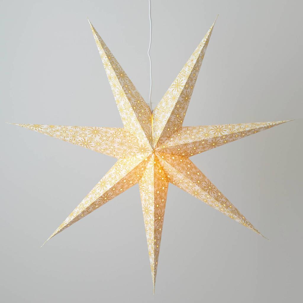 Konstsmide papieren kerstster (7-punts M), Wit met goud