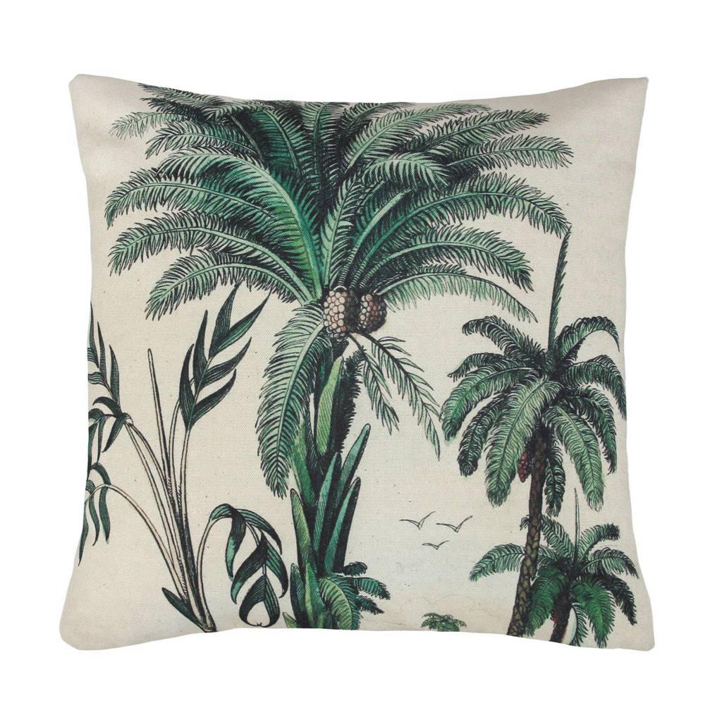 HKliving sierkussen Palm Trees (45x45 cm), Groen, wit, bruin