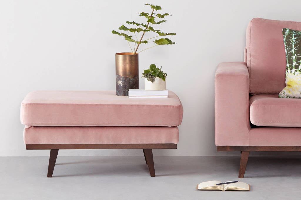 whkmp's own hocker Torino velours, Roze (velours)