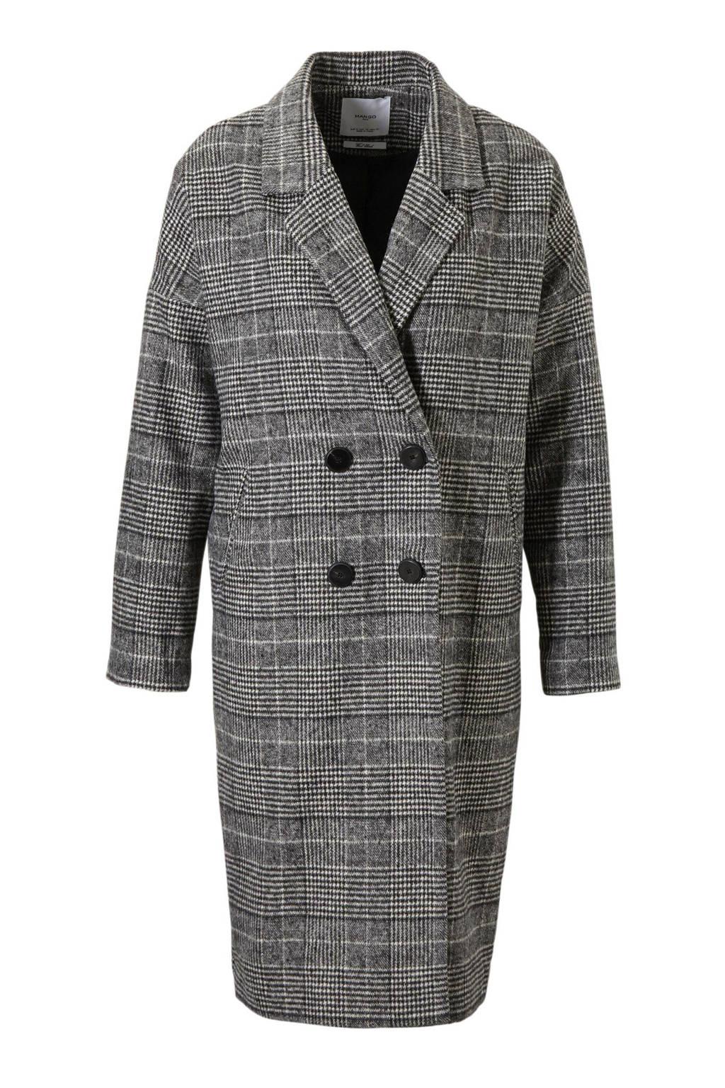 Mango oversized coat met wol, Grijs