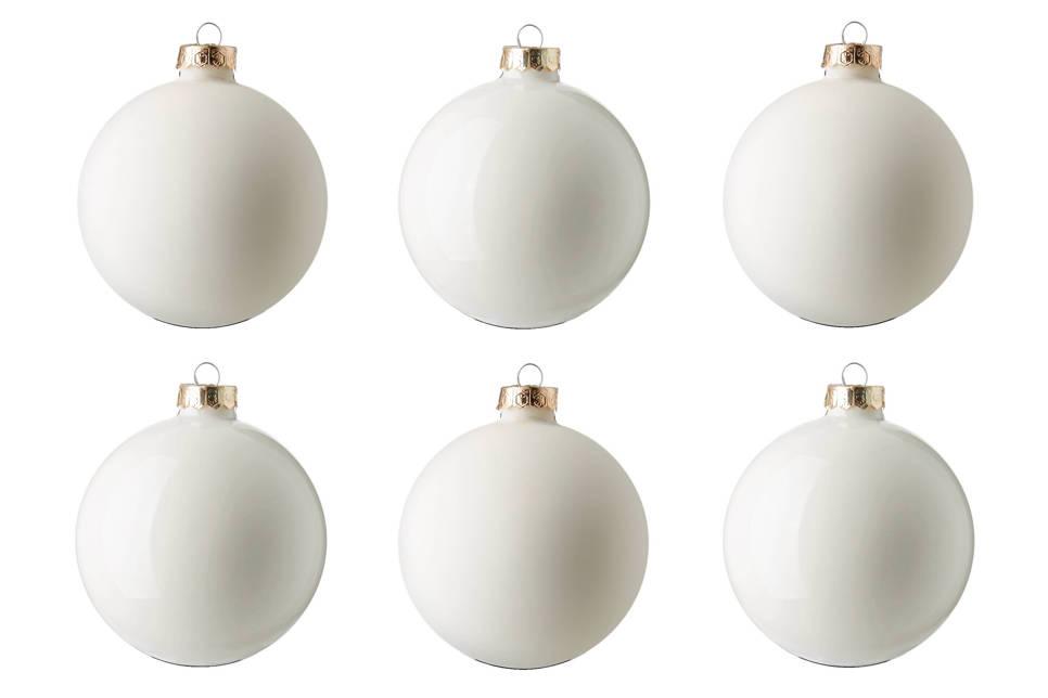 Decoris Glazen kerstballen (Ø 8cm) (set van 6) , Wit