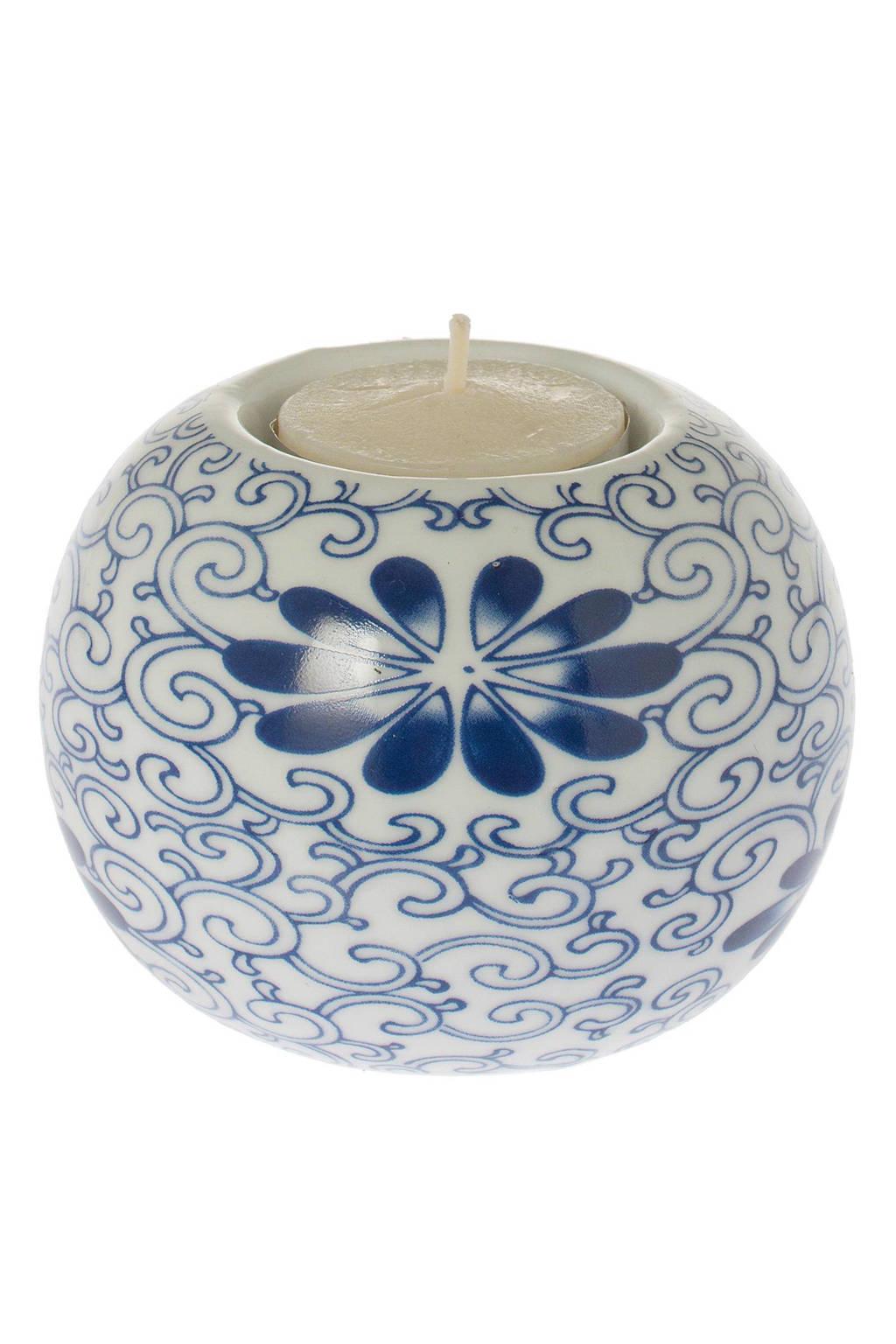 Riverdale waxinelichthouder Flower, wit, blauw