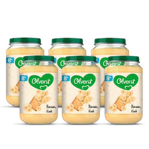 Olvarit babyvoeding banaan koek 8+ mnd (6 x 200 gram) kopen