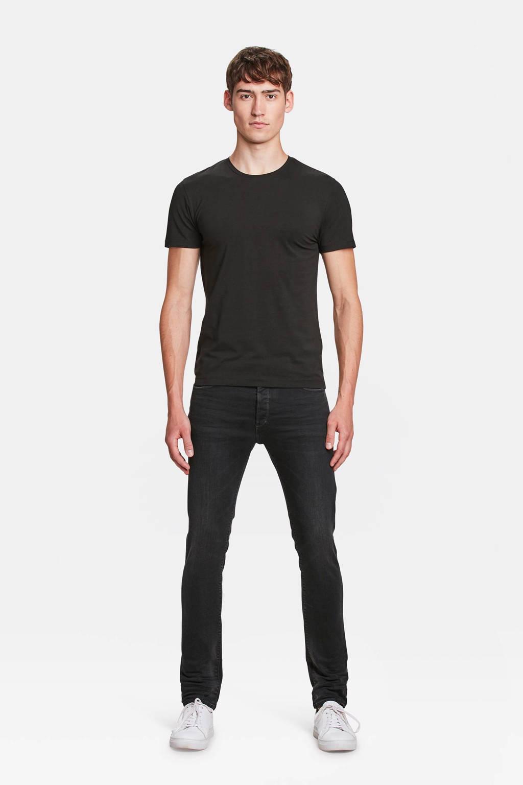 WE Fashion slim fit T-shirt, Zwart