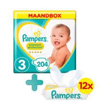 Premium Protection maandbox maat 3 (6-10 kg) 204 luiers + Sensitive babydoekjes