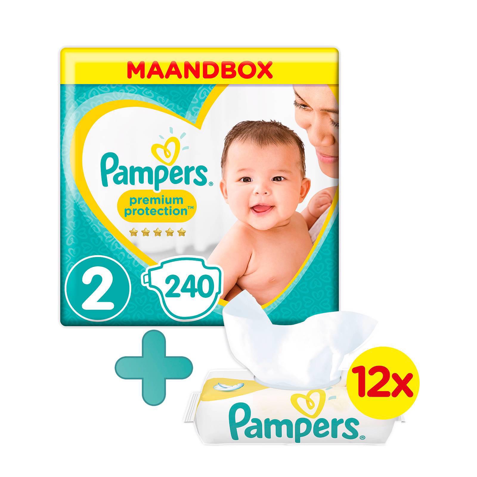Pampers New Baby maandbox maat 2 (4-8 kg) 240 luiers + Sensitive babydoekjes