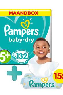Baby-Dry maandbox maat 5+ (12-17 kg) 132 luiers + Fresh Clean babydoekjes