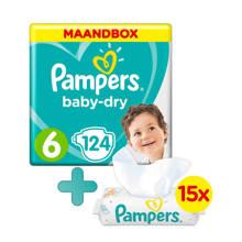 Baby-Dry maandbox maat 6 (13-18kg) 124 luiers + Sensitive babydoekjes