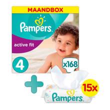Active Fit maandbox maat 4 (8-16 kg) 168 luiers + Sensitive babydoekjes