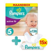 Active Fit maandbox maat 5 (11-23 kg) 136 luiers + Sensitive babydoekjes