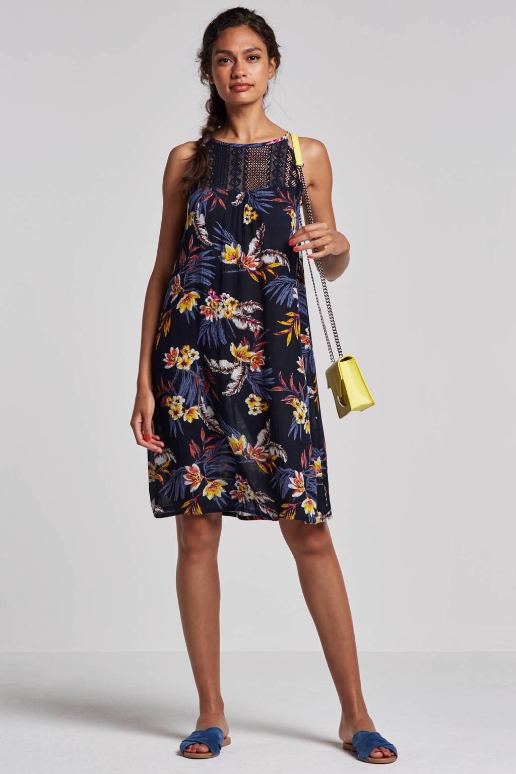 whkmp's beachwave A-lijn jurk met kant, Donkerblauw/geel