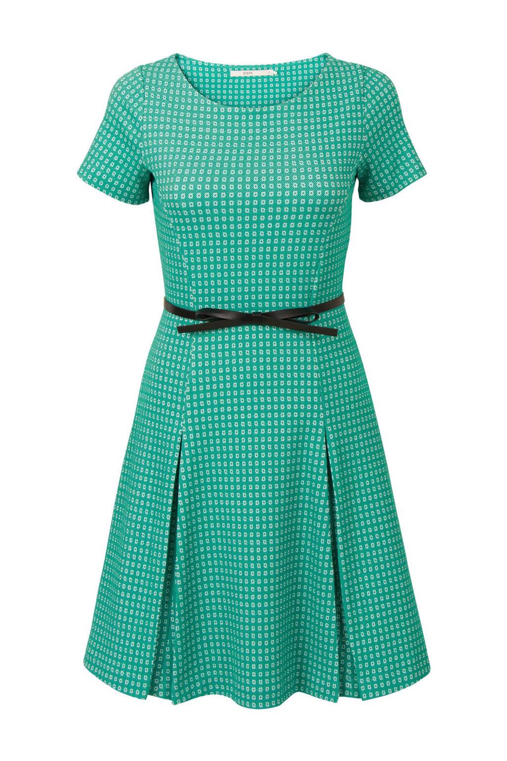 Steps jacquard A-lijn jurk, Groen