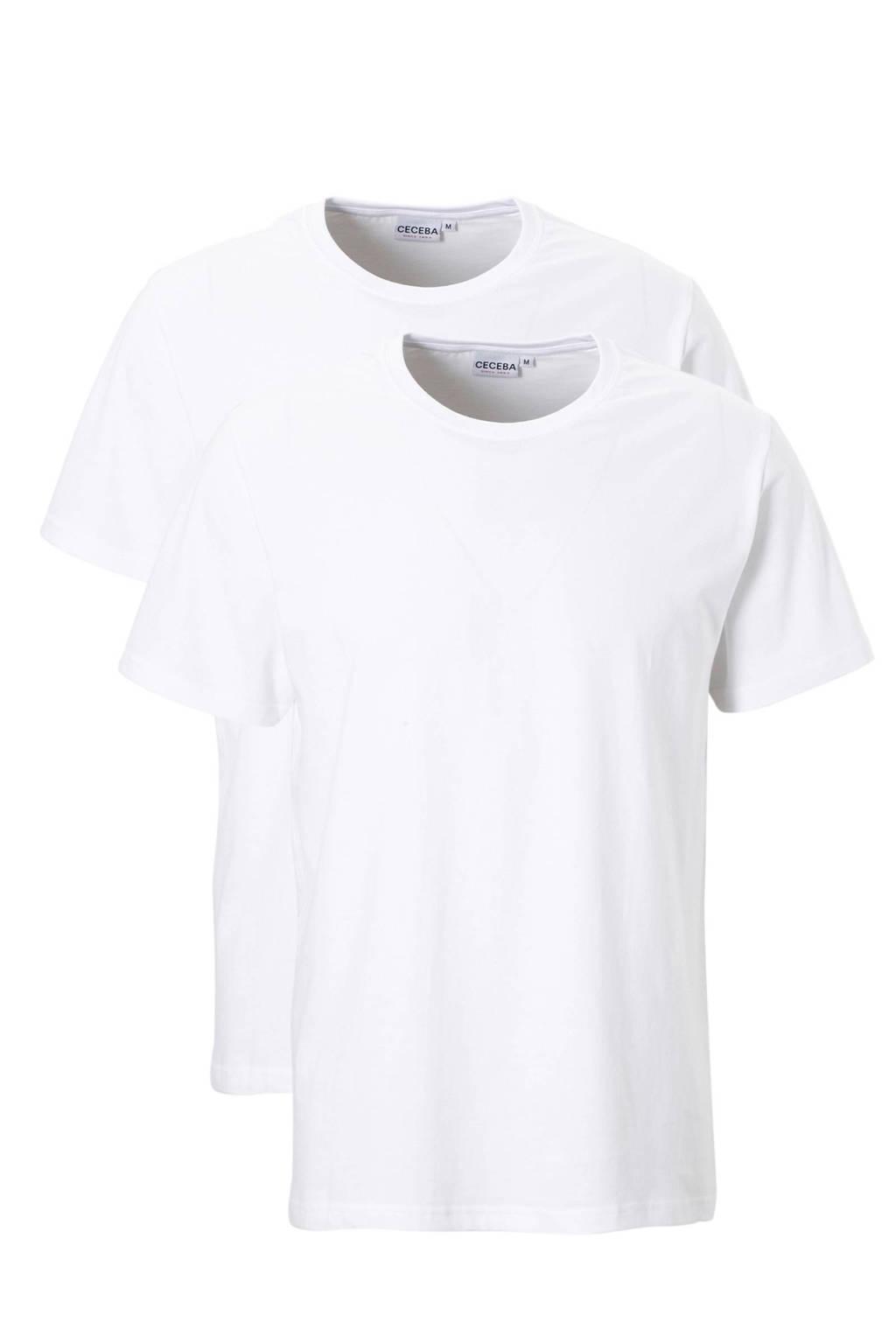 Ceceba basic t-shirt  +size (set van 2), Wit