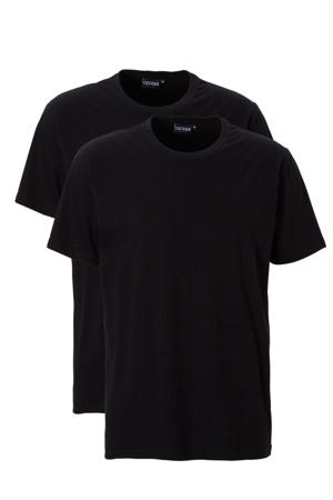 +size basic t-shirt (set van 2) zwart