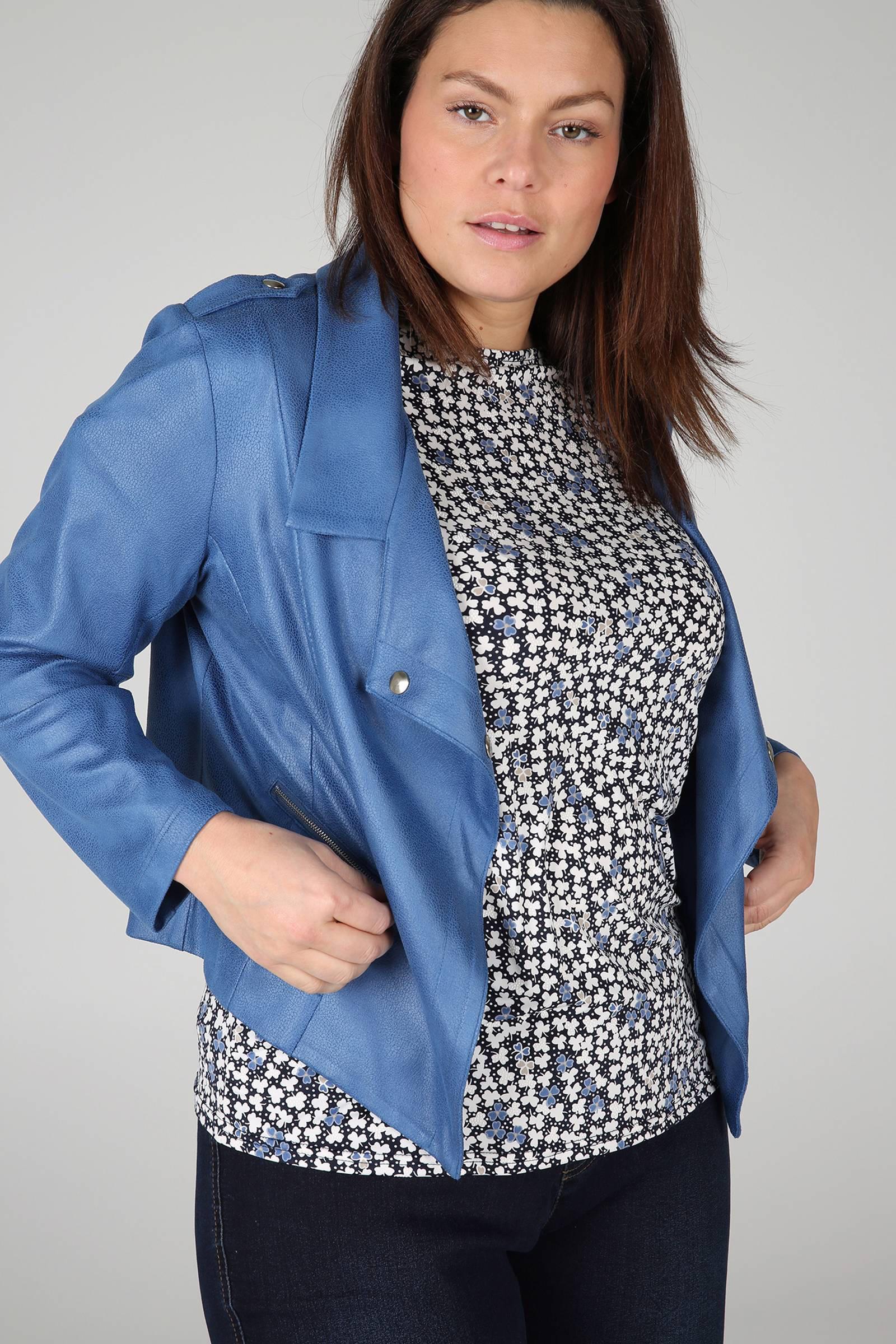Paprika imitatieleren jasje marineblauw | wehkamp